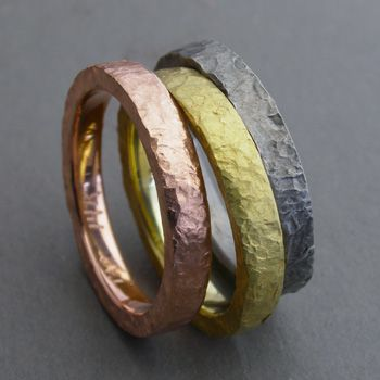 Todd Pownell Three Rings 3mm wide rustic hammered bands with