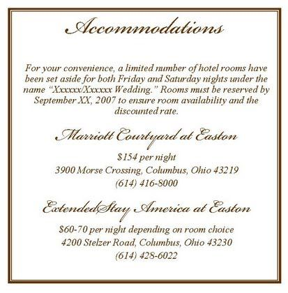 Accomodation Card Wording Wedding Invitations Wedding
