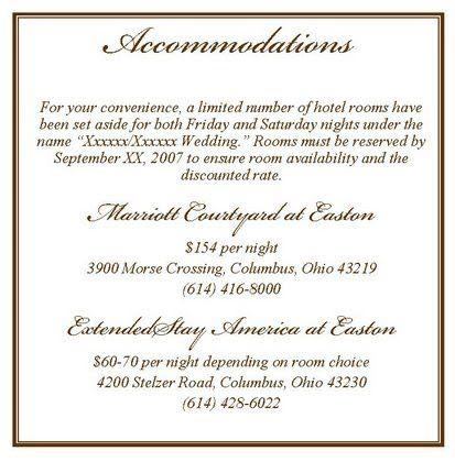 Accomodation Card Wording Invitations In 2019 Wedding