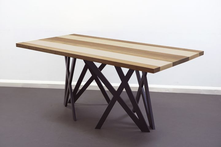 Christopher Duffy Table Black Steel Legs Solid Walnut And Maple Top
