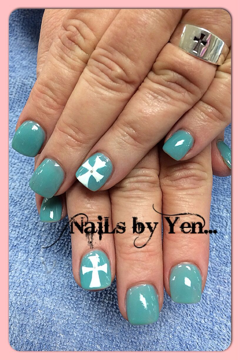 Cross Nail Art On Accent Nails Polish Religious Design Thank