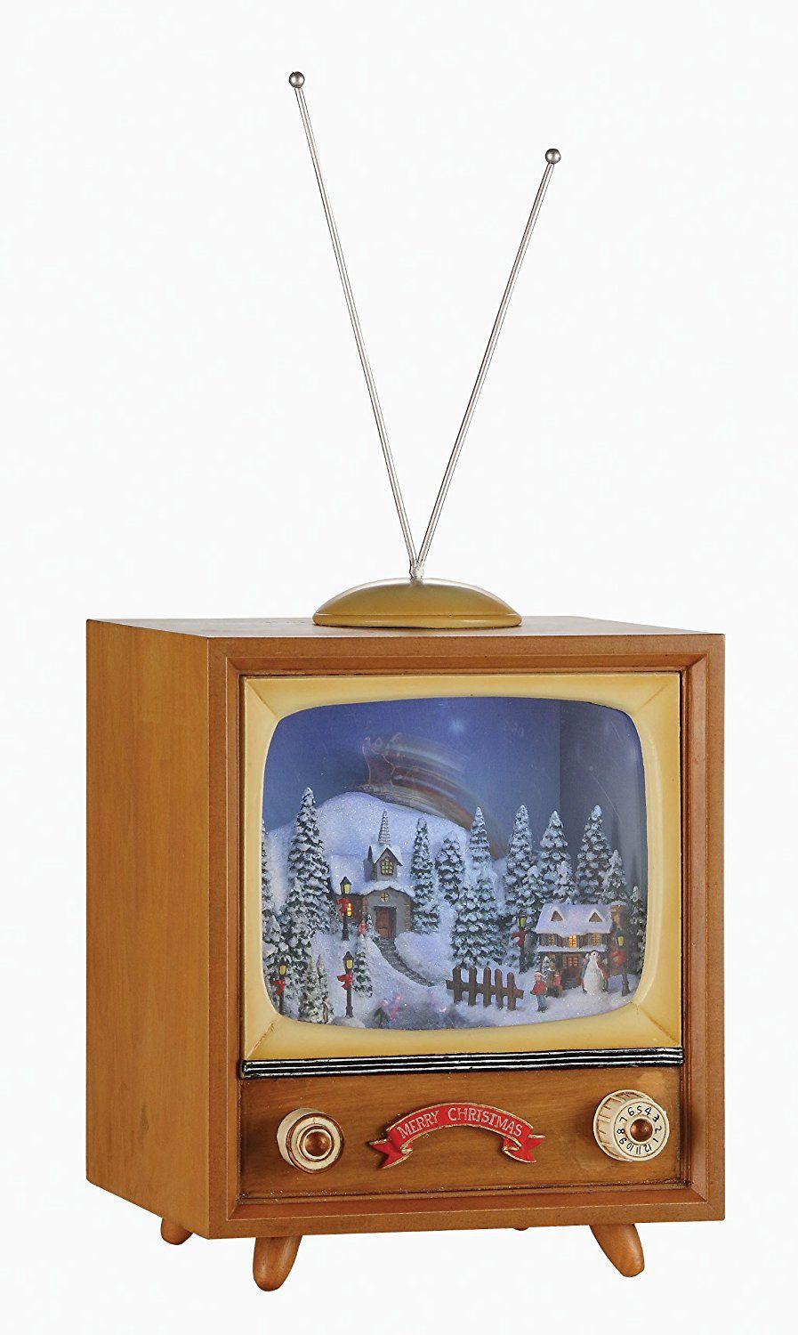 amazoncom lighted musical animated retro tv set decoration featuring vintage outdoor snow winter scene with ice skaters and rotating santa