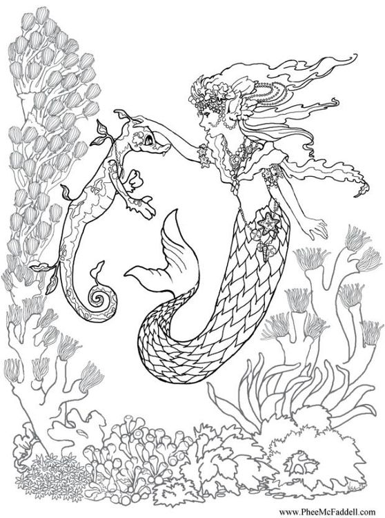 Coloring Page Mermaid And Seahorse Mermaid Coloring Pages