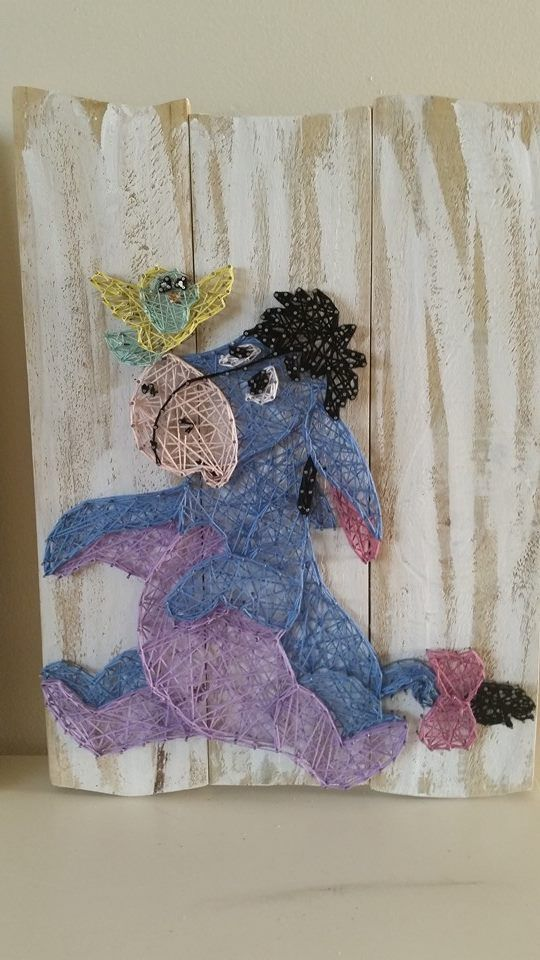 Eeyore String art. Check us out on Facebook at All Strung Up https://www.facebook.com/pages/All-Strung-Up/915873695199667