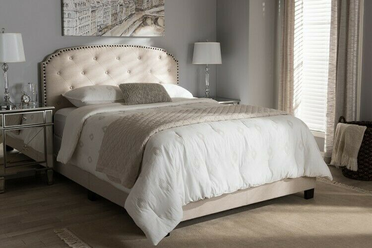 Best Details About Queen Upholstered Bed Beige Fabric Headboard 640 x 480