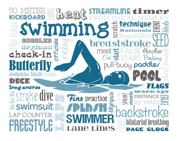 swimming word art typography home decor unique coach gift sports pool breaststroke