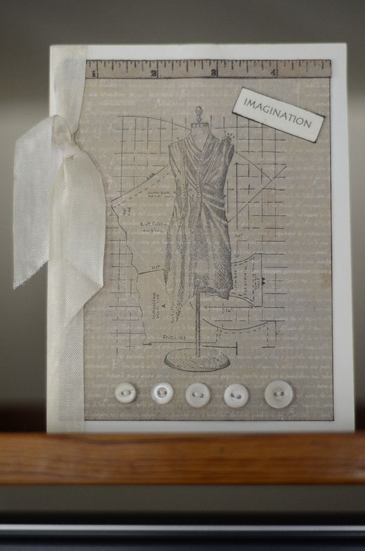 Card Making Ideas With Ribbon Part - 31: Dress Form Card With Ribbon And Buttons. Handmade By TLM.