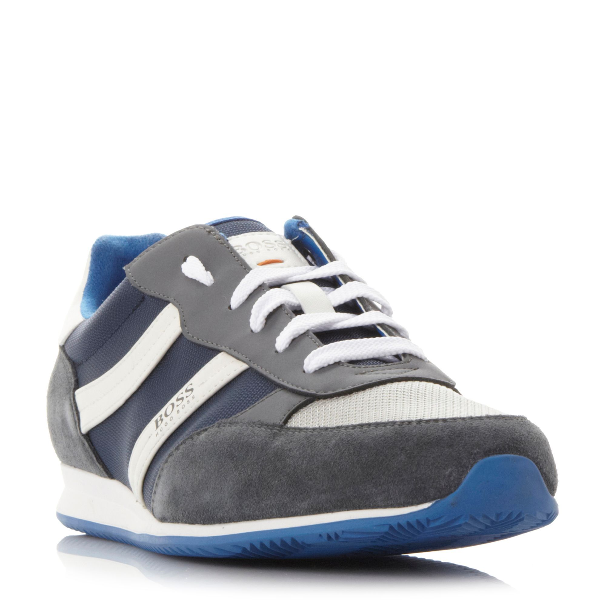 Hugo Boss Oryl colour pop mixed material trainers, Navy