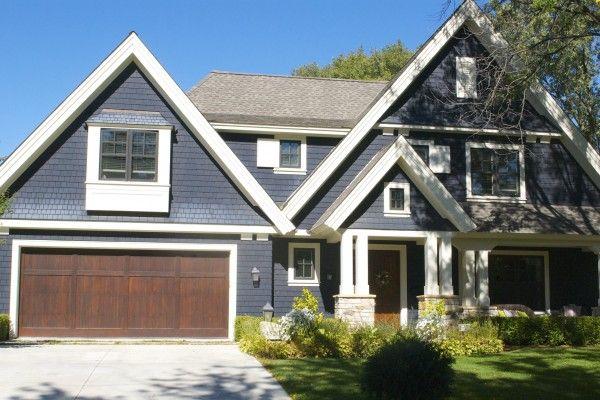 Blue With Wood Garage Door Lake Home In 2019 Wood Garage Doors