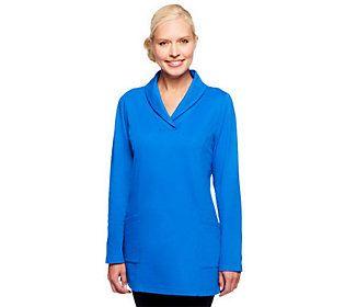 Denim & Co. Active Knit Long Sleeve Shawl Collar Tunic