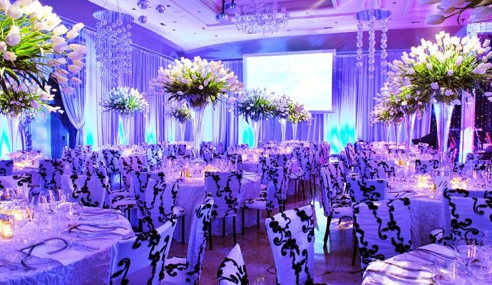 Purple Look Of Wedding Hall Decorations And Lightings