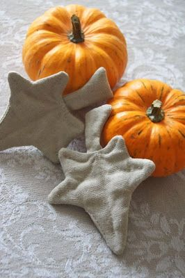 pumpkins, hand stitched leaves