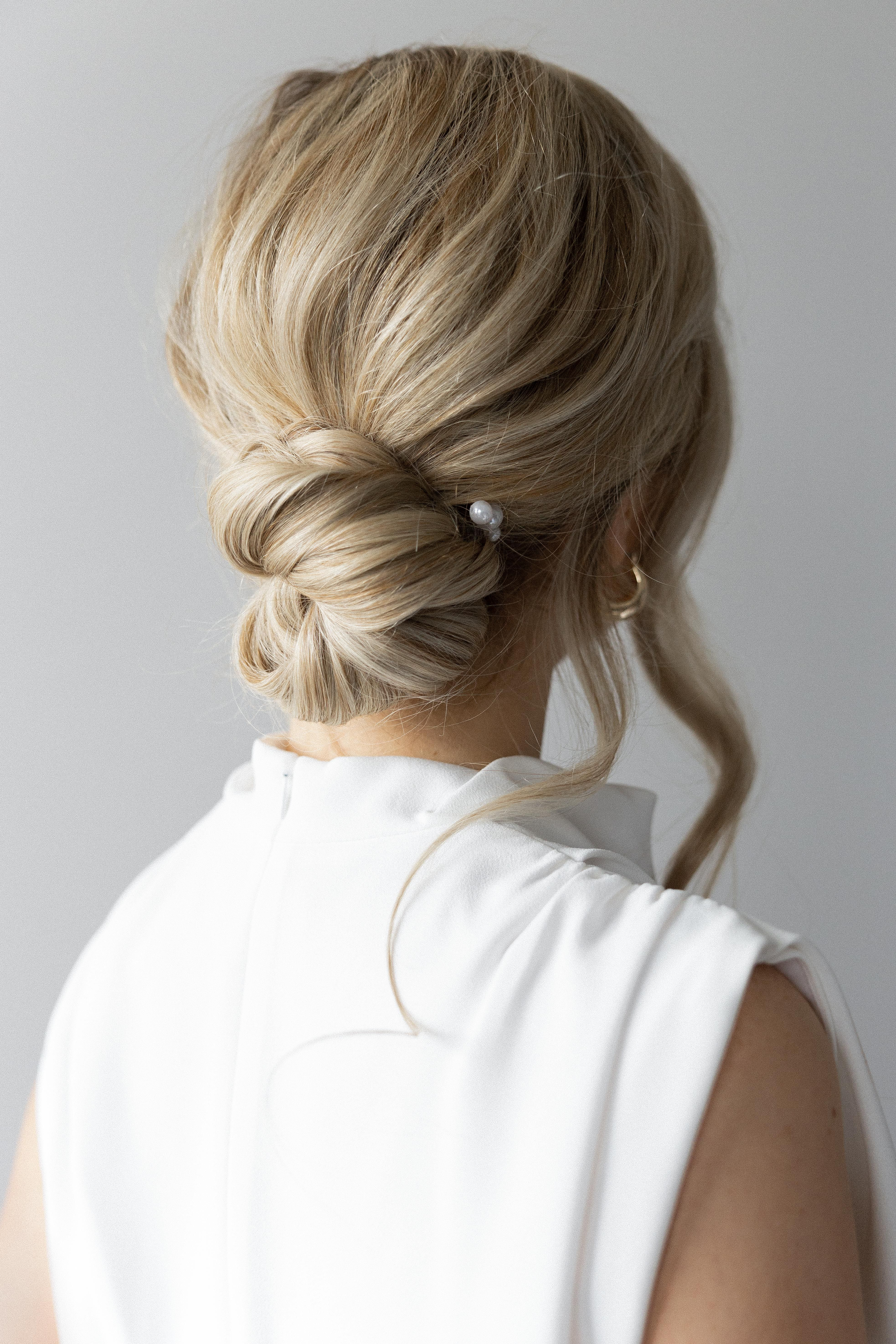 Easy Updo Hairstyle Long Medium Hair Wedding Prom Bridal In 2020 Easy Updo Hairstyles Medium Hair Styles Hair Tutorials For Medium Hair