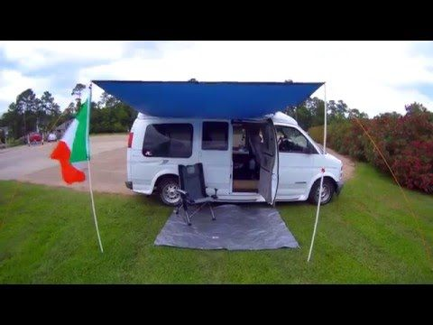 Good Cheap Idea Especially If You Suspect You Ll Be Putting Tools Away In The Rain Campervan Awnings Diy Awning Camper Awnings