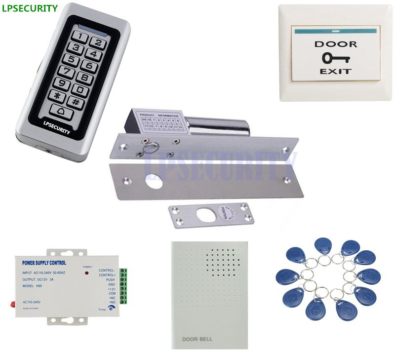 Lpsecurity Metal Keypad Rfid Access Em Reader Electric Drop Bolt Gate Door Lock Kit With 10 Tags Or 10pcs Pvc Access Control Shopping Card Door Locks