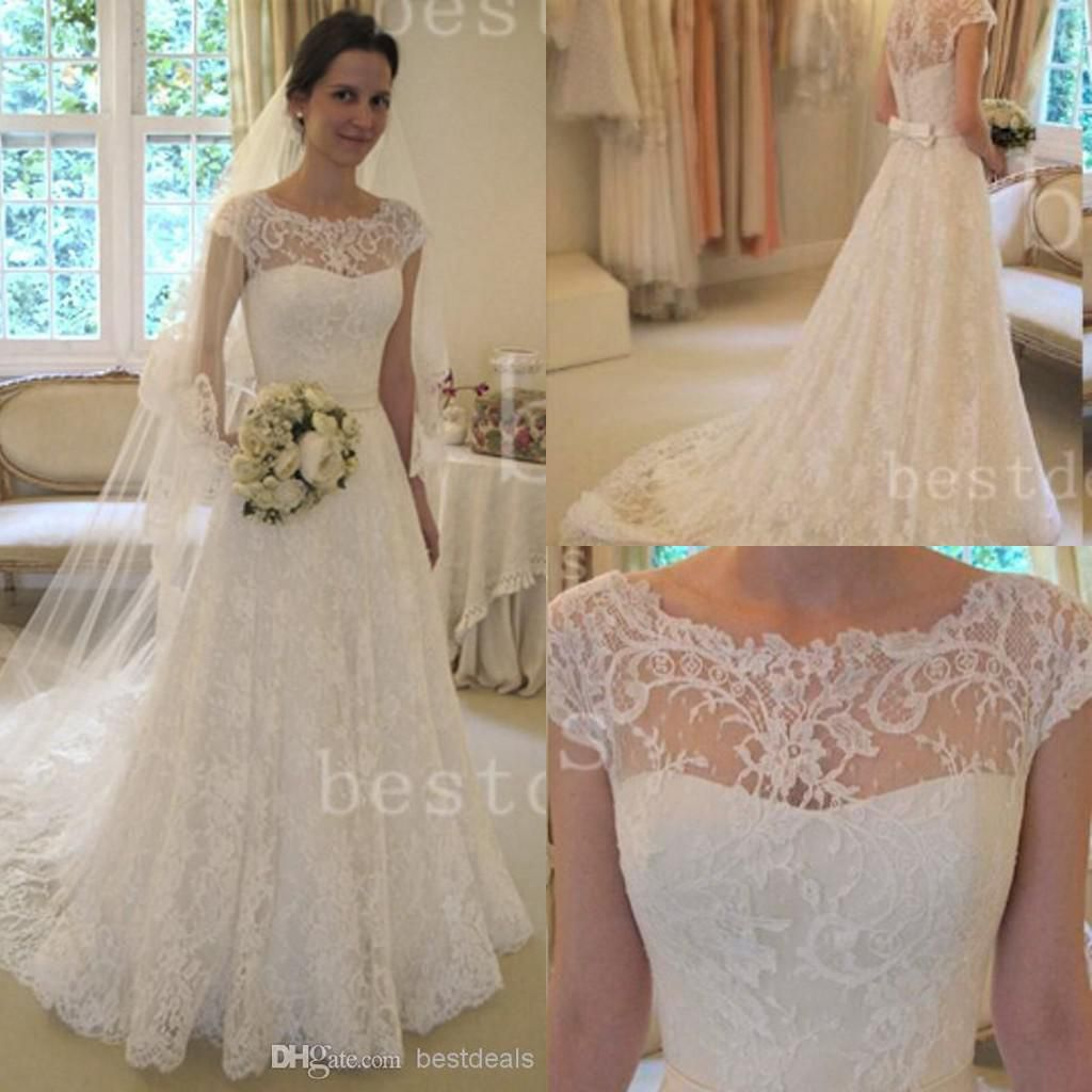Discount 2017 Full Lace Wedding Dresses Country Style Pluging V Neck ...