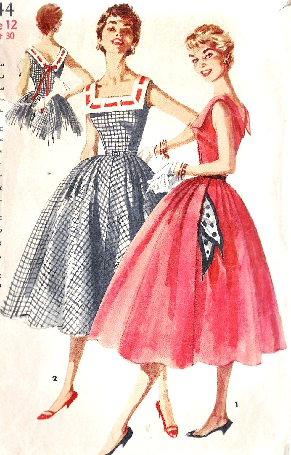 """Simplicity 1044; ©1955; Junior Misses' and Misses' One-Piece Dress"