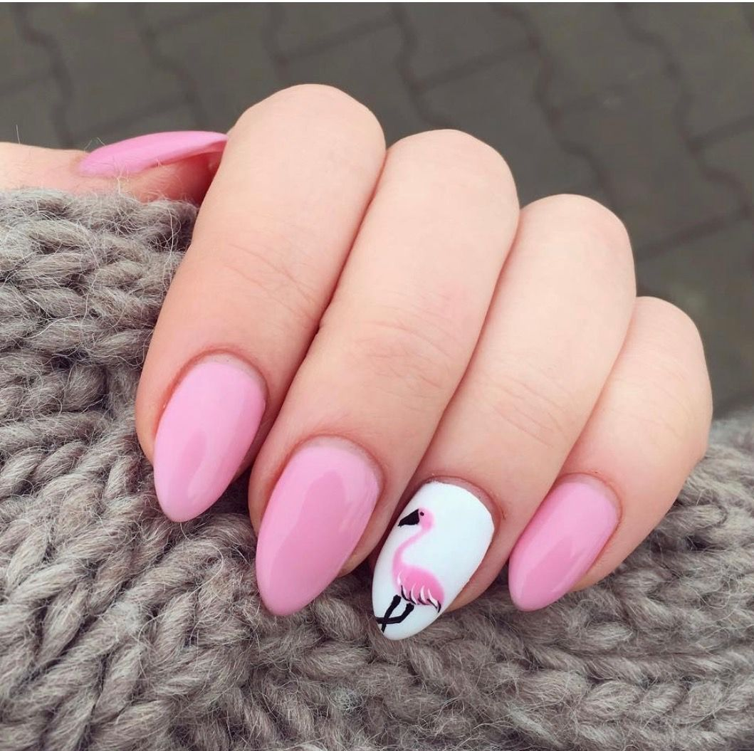 So nice flamingo manicure!!!!! | gel nails effect | Pinterest ...