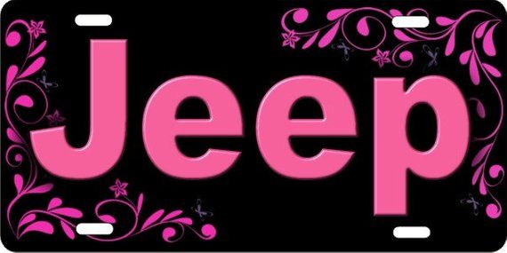 Jeep In Pink Personalized Custom Novelty Vanity Front
