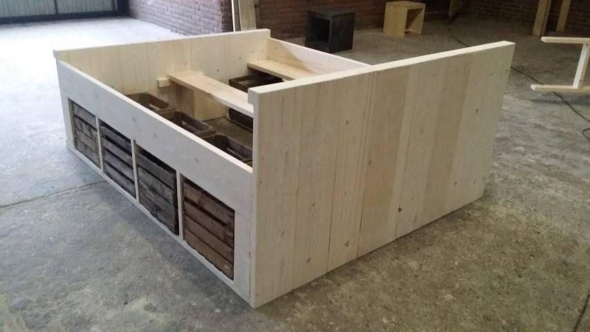Ongebruikt steigerhout bed met fruitkistjes bouwtekening - Google zoeken EW-32