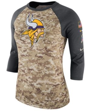 NIKE WOMEN S MINNESOTA VIKINGS SALUTE TO SERVICE THREE-QUARTER RAGLAN T- SHIRT.  nike  cloth   a34311421
