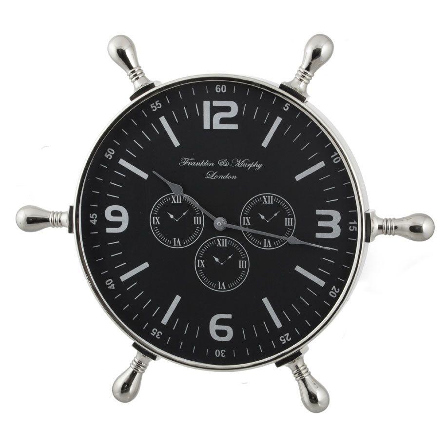 Horloge murale en aluminium ronde barre de b teau marine sil a decoration for Recherche pendule murale