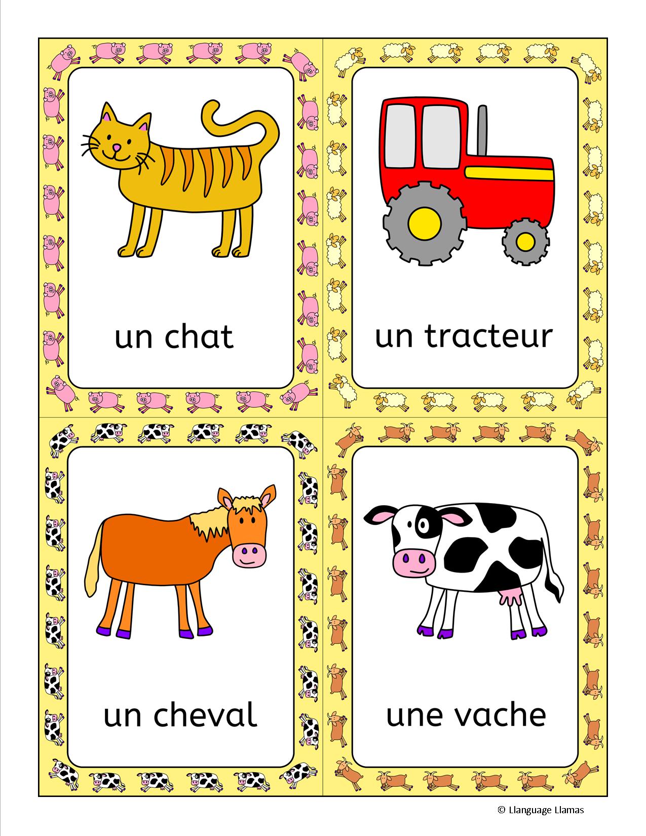 French Farm Animals - À La Ferme. Flashcards, word wall, handout ...