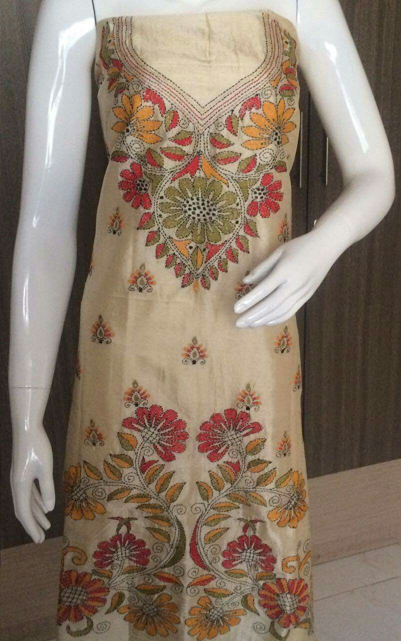 Kantha embroidery on suit | Kantha Work | Embroidery dress ...