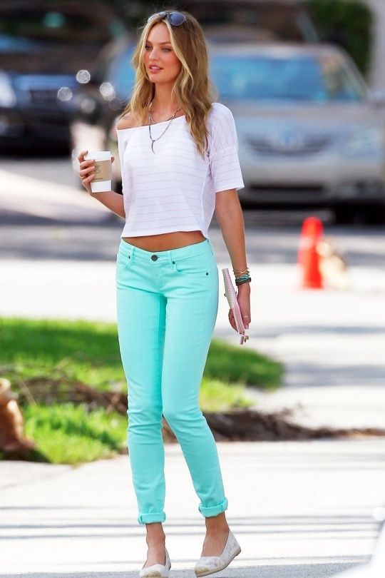 Crop Top & colored skinnies - Candice Swanepoel