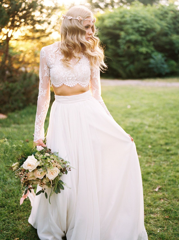 Willow crop top wedding separate lace crop top long sleeve