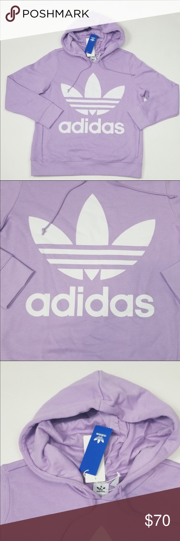 Adidas Originals Large Logo Hoodie New With Tags Lavender Color 2 Side Pockets Adidas Tops Sweatshirts Hoodies Adidas Adidas Originals Hoodies [ 1740 x 580 Pixel ]