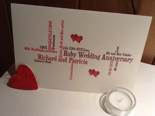 Personalised ruby wedding anniversary valentine card free worldwide