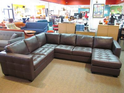 Palliser Barrett Leather Sofa Sectional In Venice Chocolate W/ Espresso  Legs.
