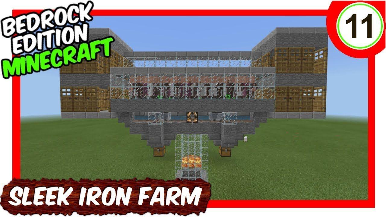 Sleek Iron Farm Bedrock Edition Minecraft Minecraft Tutorial Minecraft Farm