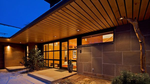 Architecture Exterior View Foyer Wooden Ceiling Wall