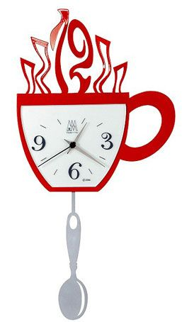 Marvelous Coffee Cup With Spoon Pendulum Wall Clock