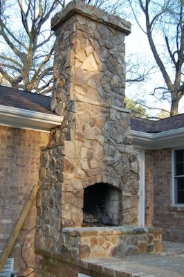 Stone Chimney Outdoor Fireplace Fireplace Outside Fireplace