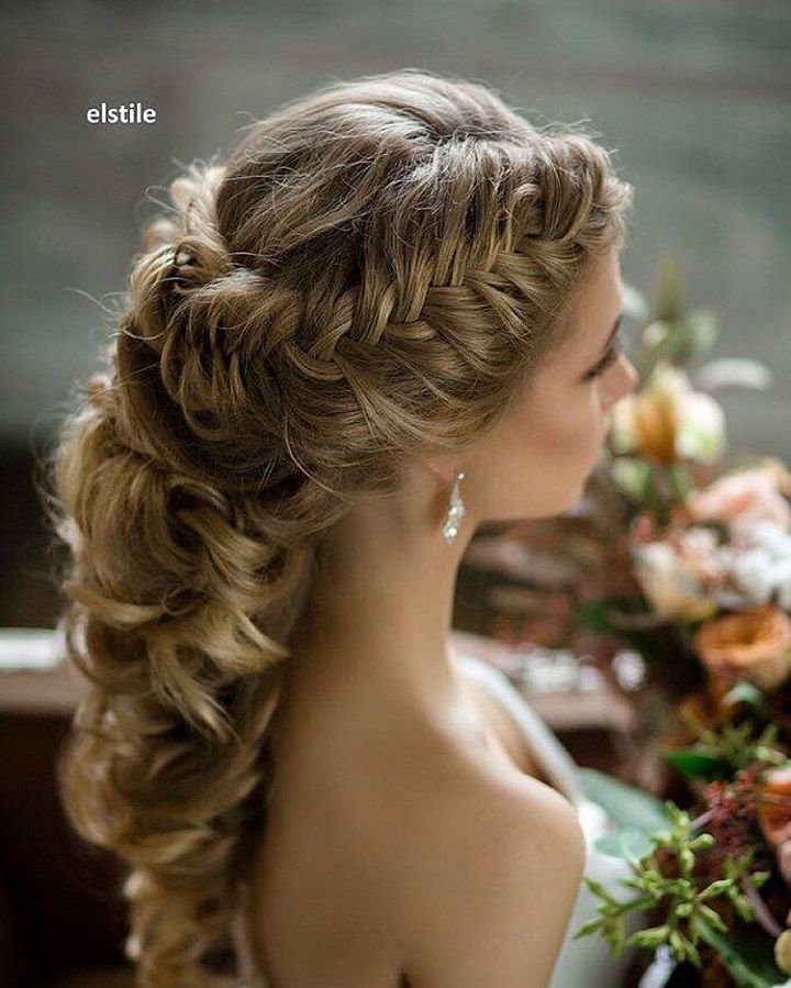 Pretty Braided Crown Half Up Half Down Wedding Hairstyles