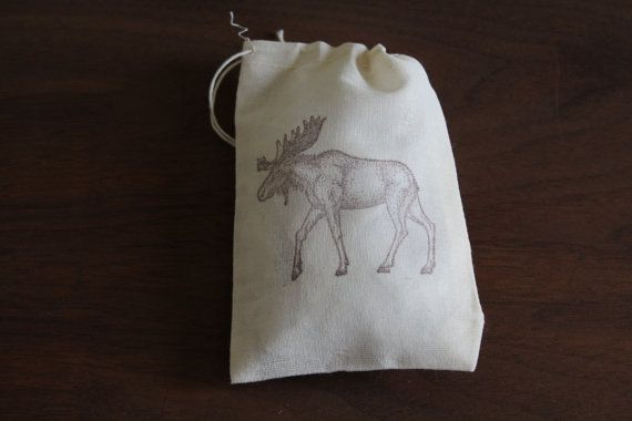 Set of 10 Hand stamped Moose Drawstring Bags by CrimsonHollow set of 10 for 12