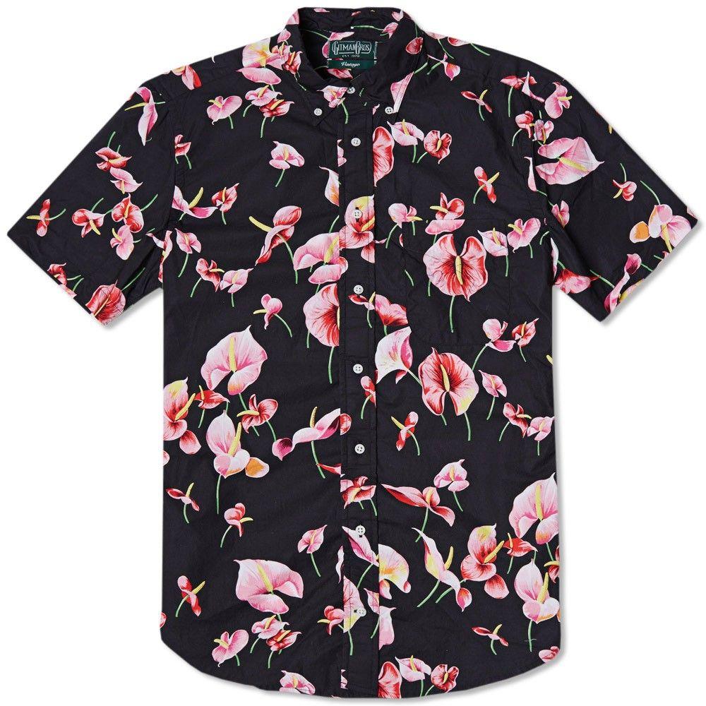Gitman vintage flamingo flower short sleeve shirt black for Flower print mens shirt