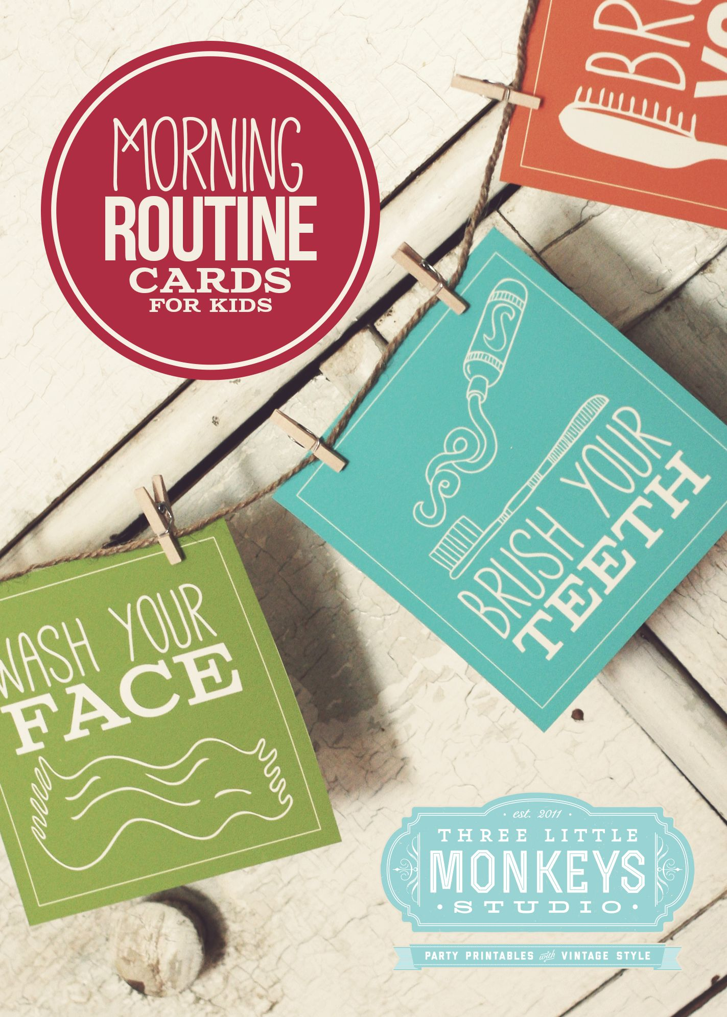 Morning Routine Cards For Kids By Three Little Monkeys