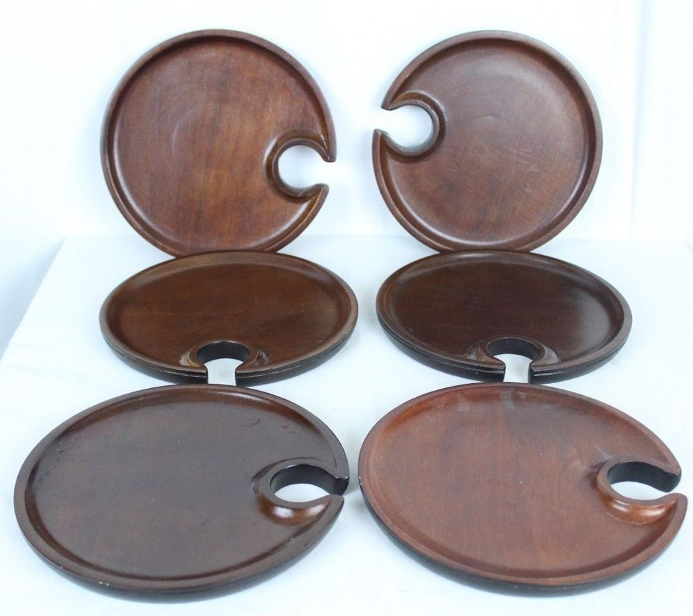 Pottery Barn Mingling Wood Wooden 1 Plate India Indentation Hole for Wine Glass