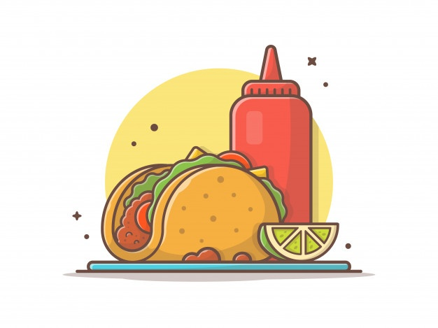 Taco Mexican Food With Lemon And Ketchup Icon Illustration In 2021 Mexican Food Recipes Coffee Doodle Lemon Ketchup
