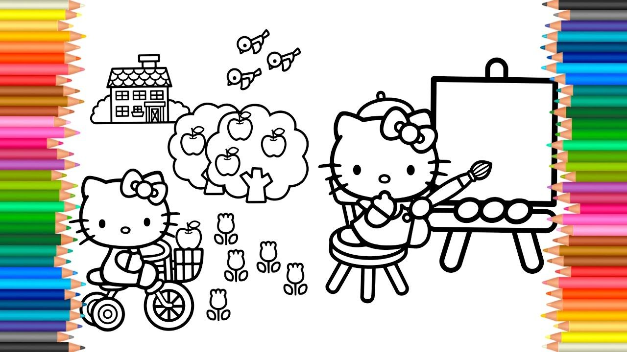 Coloring Hello Kitty Book Videos For Kids Learn Colors
