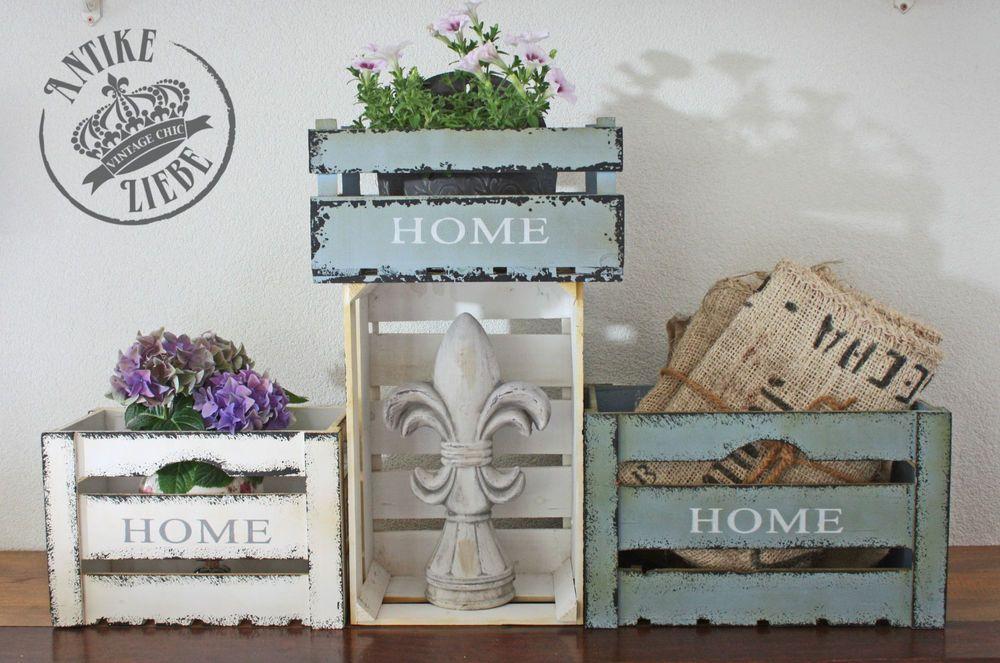 alte obstkiste landhaus holzkiste shabby chic antik weinkisten kiste home holz und co pinterest. Black Bedroom Furniture Sets. Home Design Ideas