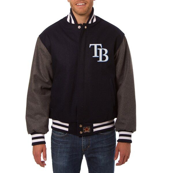 Tampa Bay Rays Jh Design Two Tone Wool Jacket Navy Gray Tampabayrays Wool Jacket Jackets Team Sports Apparel