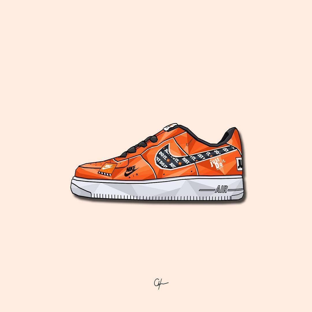 Younmarx On Instagram Nike Air Force 1 Just Do It Orange Favorite Af1 Collection Nike In 2021 Sneakers Drawing Sneakers Illustration Sneaker Art