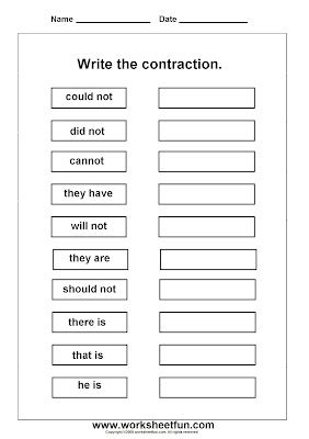 Free Contraction worksheets | After School-Parts of Speech ...