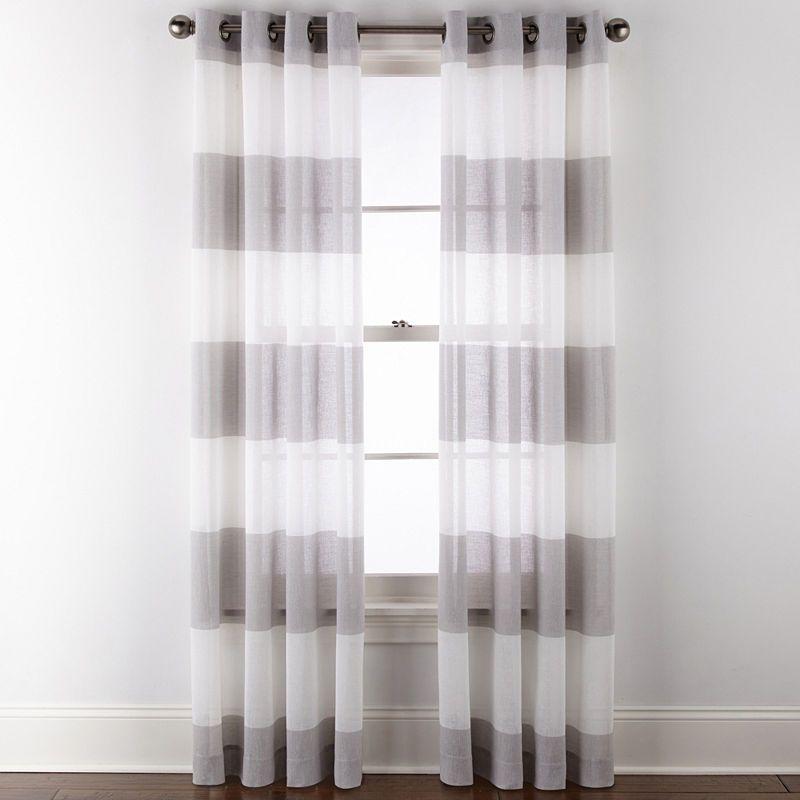 Jcpenney Home Metallic Stripe Grommet Top Sheer Curtain