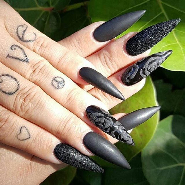 ☻ Gothic stilletos designed by @nailsbyacu. ☻ • • • #nailsdid #wedding #almondnails #nailsonfleek #nailartaddict #nailaholic #nailgasm #naildesign #nailstagram #nailprodigy #nailfie #pic #coffinnails #bling #nailswag #instanails #nailstoinspire #gothic #nailaddict #blingnails #nailsoftheday #fashionaddict #nailsofinstagram #naildesigns #pixe #sparkle #pixie #blacknails #black  FOR  A FEATURE  #NAIL_ME_GOOD_